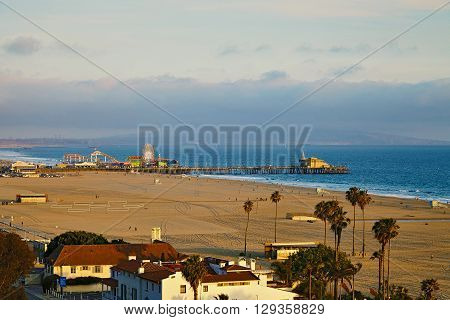 vView of the Santa Monica Pier at sunset California