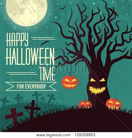 Halloween Time Background Concept In Retro Style. Vector Illustr