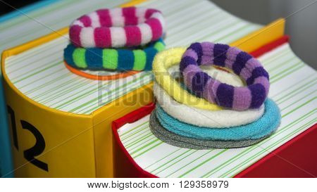 Colorful scrunchy of different colors shapes fashion
