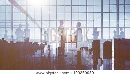 Back lit Business People Working Corporate Concept