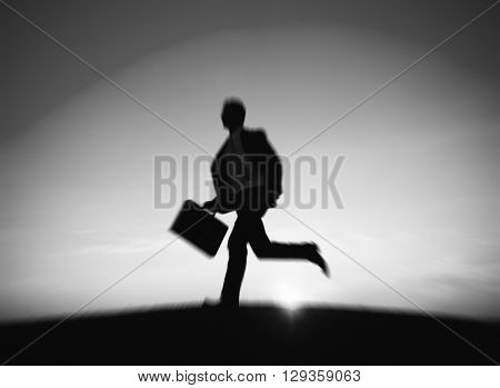 Businessman Running Rush Hour Working Concept