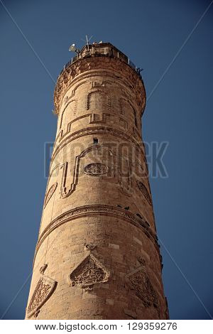Historical minaret in Mardin and İslamic architect