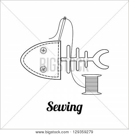 Sewing logo, badge or label. Sewing fish, needle and thread spool. Tailor shop and sewing symbol. Vector illustration eps10.