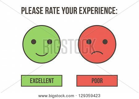 Customer service rating. Excellent and poor emotion icons isolated on white background.
