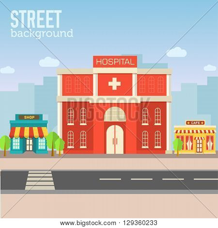 Hospital Building In City Space With Road On Flat Syle Backgroun