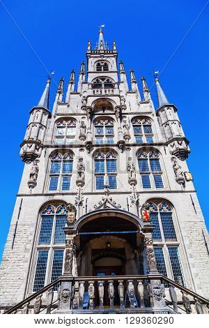 gable of the historical city hall in Gouda Netherlands