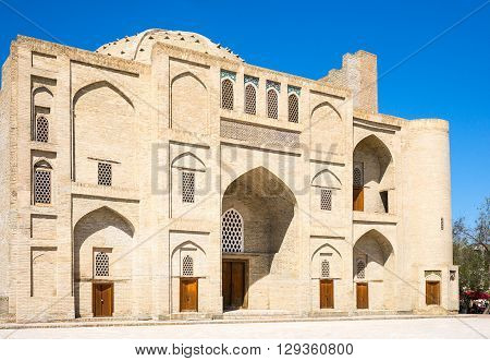 Uzbekistan Bukhara an old madrassah in the Char Bakr central square
