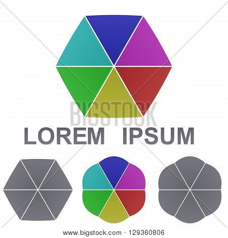 Colorful hexagon logo vector. Hexagon icon symbol design template set for business, technology, corporate concepts.