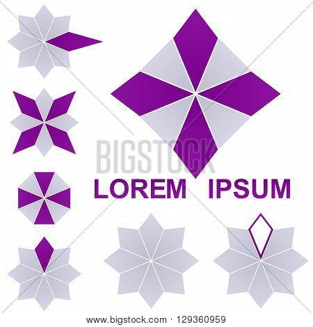 Purple silver octagon logo vector. Octagon icon symbol design template set.