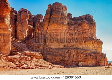The Solomons Pillars geological and historical place in Timna Park near to Eilat Israel. The first copper mines in the history and the Hathor temple were here.
