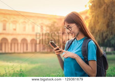 Student chatting on the phone