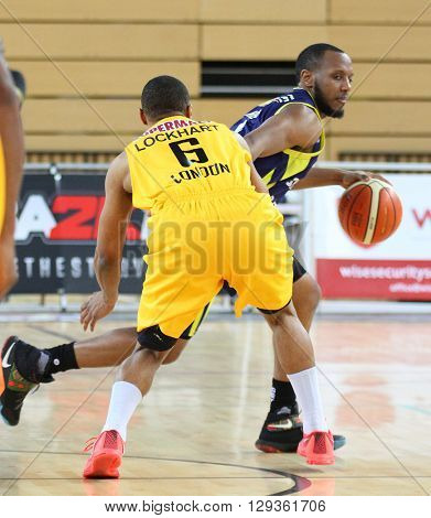 LONDON, ENGLAND - APRIL 24 2016: During the British Basketball League match between London Lions and Sheffield Sharks at The Copper Box Arena on April 24, 2016 in London, United Kingdom.