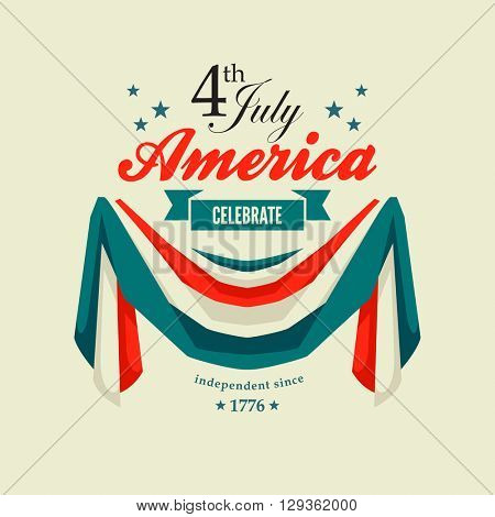 4th July Independence Day card with patriotic flag swag banting