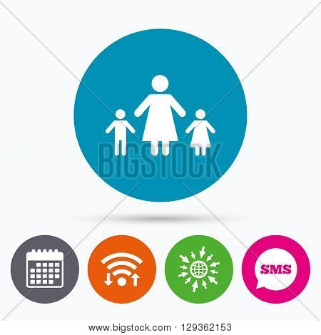 Wifi, Sms and calendar icons. One-parent family with two children sign icon. Mother with son and daughter symbol. Go to web globe.