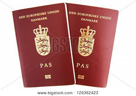 Two danish passport isolated on white background