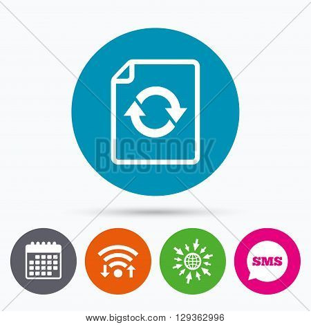 Wifi, Sms and calendar icons. File document refresh icon. Reload doc symbol. Go to web globe.