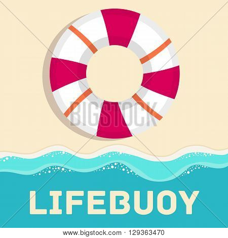 Retro Flat Lifebuoy Icon Concept. Vector Illustration Design