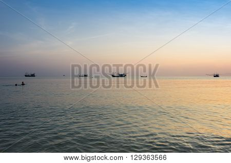 Andaman sea on sunset Krabi province Thailand