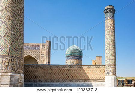 Samarkand Uzbekistan - April 18 2014: View of the Bibi Khanim mosque from outside the wall