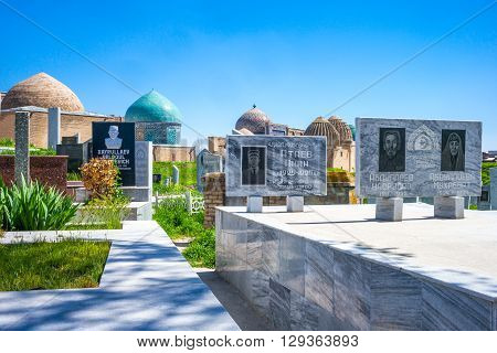 Samarkand Uzbekistan - April 18 2014: A modern cemetery at the entrance of the Shakhi Zinda Ensemble