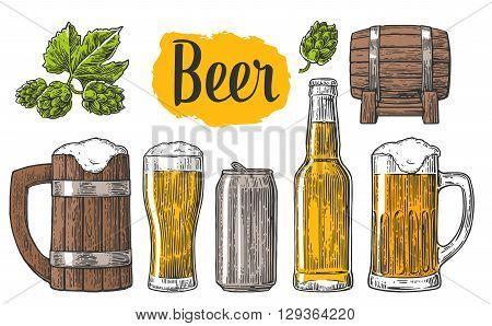 Berr class can bottle barrel. Vintage vector engraving illustration for web poster invitation to beer party. Hand drawn design element isolated on dark background.