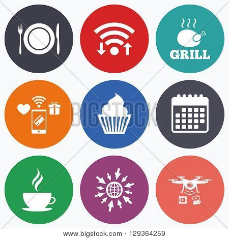 Wifi, mobile payments and drones icons. Food and drink icons. Muffin cupcake symbol. Plate dish with fork and knife sign. Hot coffee cup. Calendar symbol.