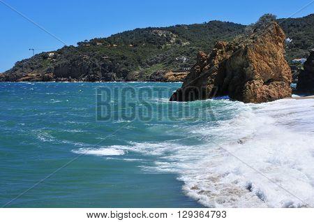 a view of the Cala Illa Roja beach in Begur, in the Costa Brava, Catalonia, Spain