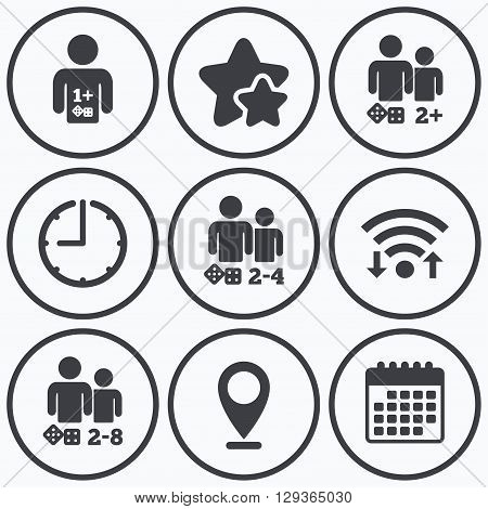 Clock, wifi and stars icons. Gamer icons. Board games players sign symbols. Calendar symbol.