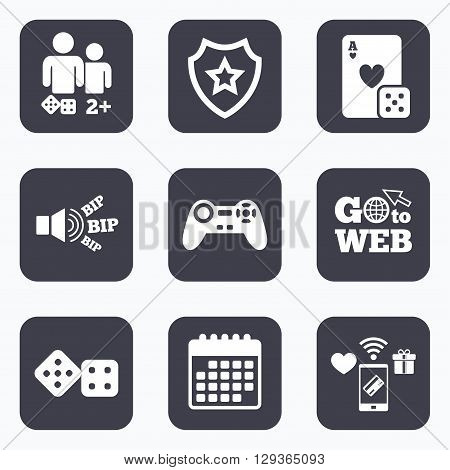 Mobile payments, wifi and calendar icons. Gamer icons. Board games players signs. Video game joystick symbol. Casino playing card. Go to web symbol.