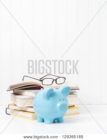 Pile of textbooks and a blue porcelain piggybank. Suggests the concept of the cost of education.