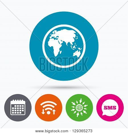 Wifi, Sms and calendar icons. Globe sign icon. World map geography symbol. Go to web globe.