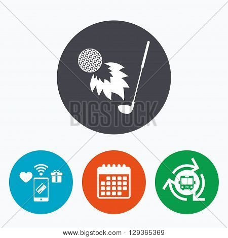 Golf fireball with club sign icon. Sport symbol. Mobile payments, calendar and wifi icons. Bus shuttle.