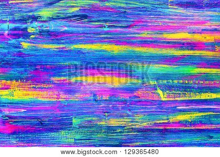 Natural wooden many-colored oil painted board. Abstract texture multicolored background empty template. Melange colors: pink purple blue yellow green turquoise