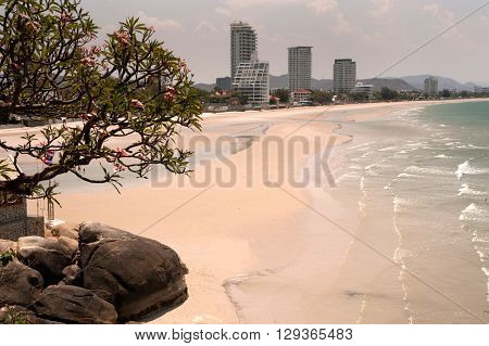 Scenic view Hua-Hin beach from Wat Khao Takiab temple,Hua Hin's beach is very popular beach both single and family visitor. The white sandy beach length around 7-kilometer and lined with a wide range of accommodations, from bungalows to five-star hotels a
