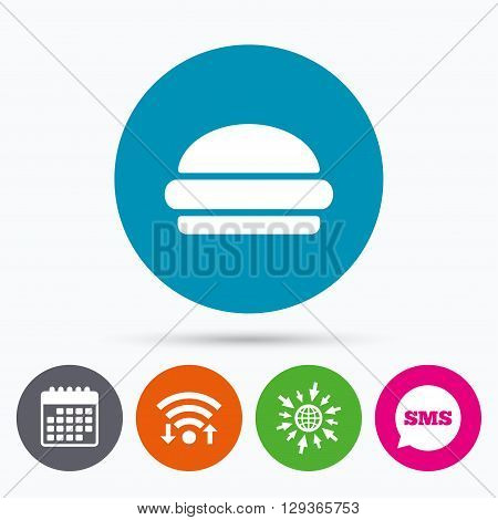 Wifi, Sms and calendar icons. Hamburger sign icon. Fast food symbol. Junk food. Go to web globe.