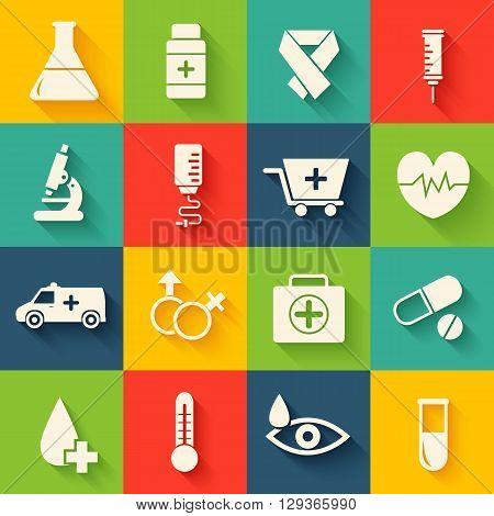 Medicine Flat Icons Set Concept. Vector Illustration