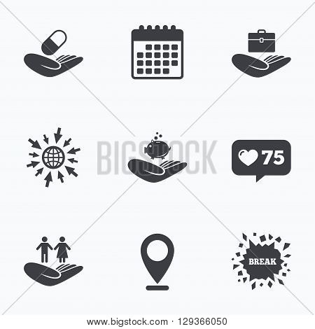 Calendar, like counter and go to web icons. Helping hands icons. Protection and insurance symbols. Financial money savings, health medical insurance. Human couple life sign. Location pointer.