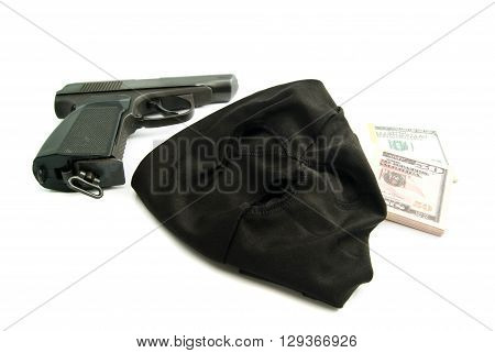 Mask, Gun And Dollars