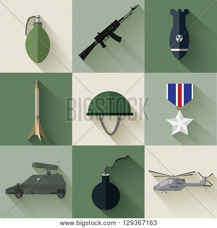 Army Concept Of Military Equipment Flat Icons Background. Vector