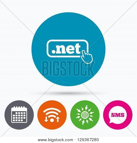 Wifi, Sms and calendar icons. Domain NET sign icon. Top-level internet domain symbol with hand pointer. Go to web globe.