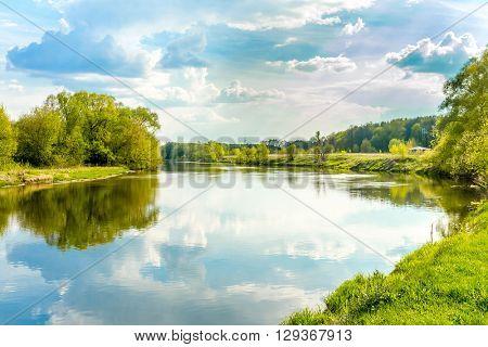 calm summer day on river, landscape sunny image