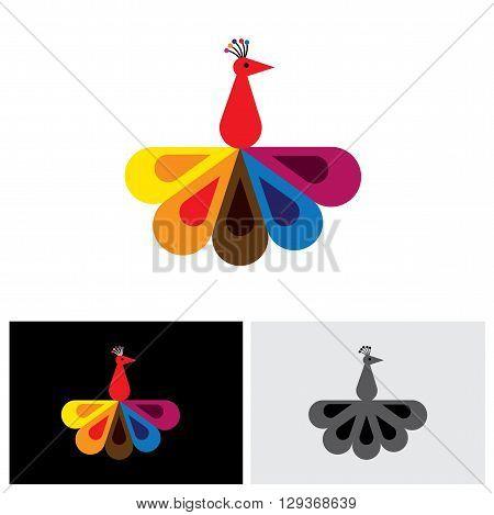peacock bird vector logo icon in eps 10 format