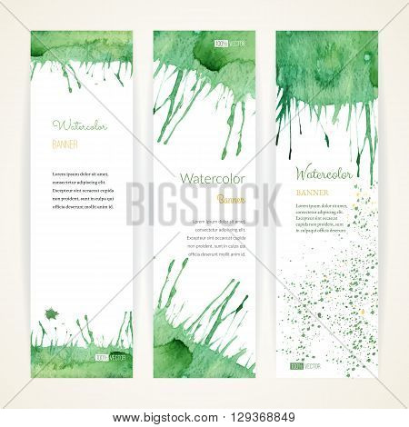 Set of hand painted watercolor vertical banners. Colorful abstract green and orange brush stocks and splashes on a white backgrounds. Modern style graphic design template. Marketing concept.