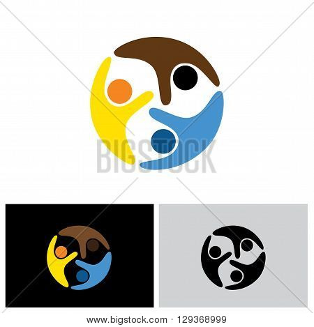 friends and friendship vector logo icon in eps 10 format