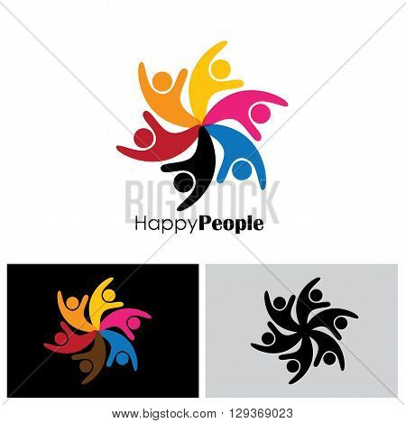people logo icon of friendship & unity vector eps 10