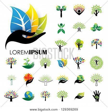 Human Life Logo Icons Of Abstract People Tree Vectors