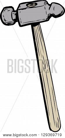 Single ball pein hammer illustration with wooden handle over isolated white background