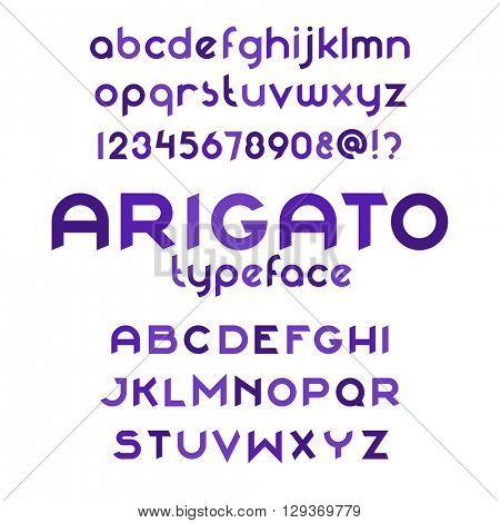 Arigato typeface. Round font set. Vector alphabet