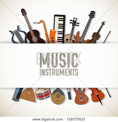 Flat Music Instruments Background Concept. Vector Illustrator