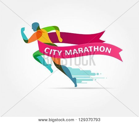 Running marathon, icon and symbol with ribbon, banner